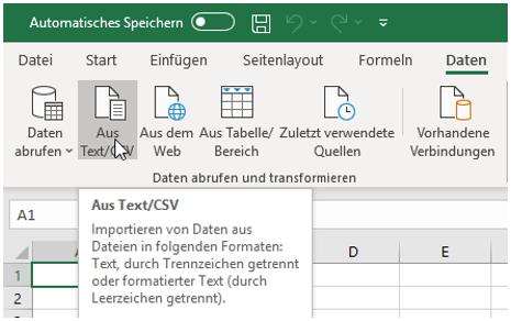 Funktion für den Import von CSV-Dateien in Excel