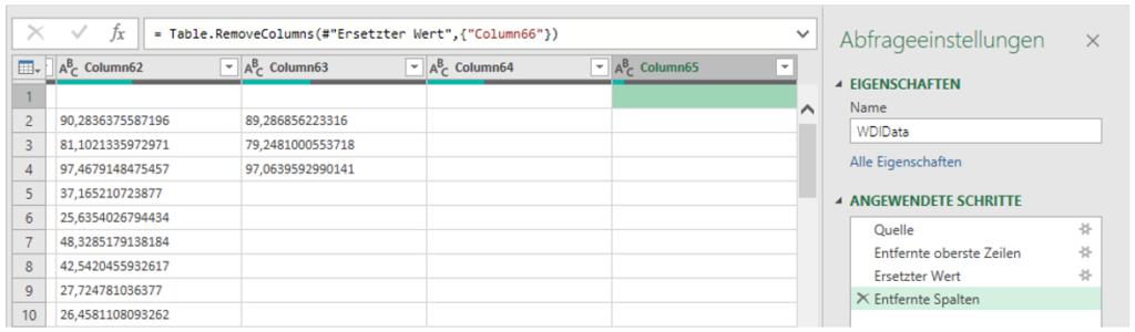 Bereinigte Tabelle in Excel