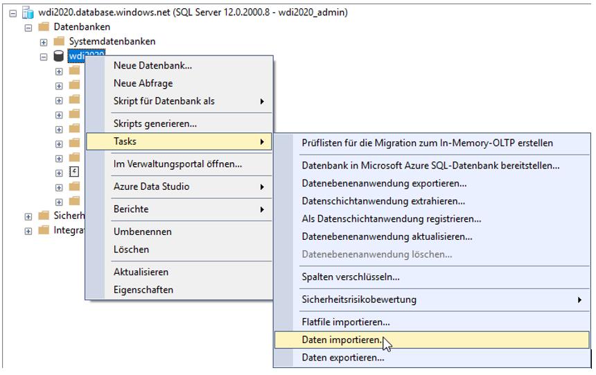 Möglichkeit zum Import von Tabellen nach Azure, auch von lokalen Systemen