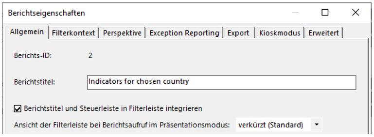Option für die Integration von Berichtstitel und Steuerleiste in Filterleiste
