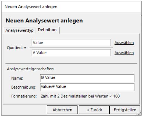 """Definition des neuen Analysewerts """"Ø Value"""""""