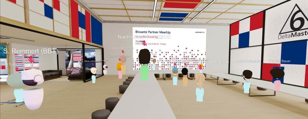 Avatare im virtuellen Vortragssaal von Frame beim Get-together des Partner-Meet-ups 2021 von Bissantz