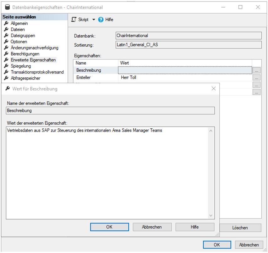 Datenbank mit erweiterten Eigenschaften