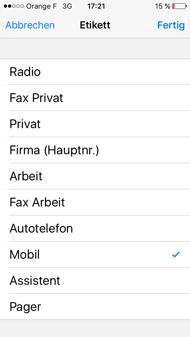 iPhone-Liste zur Etikettierung von Rufnummern: keine optimale Sortierung