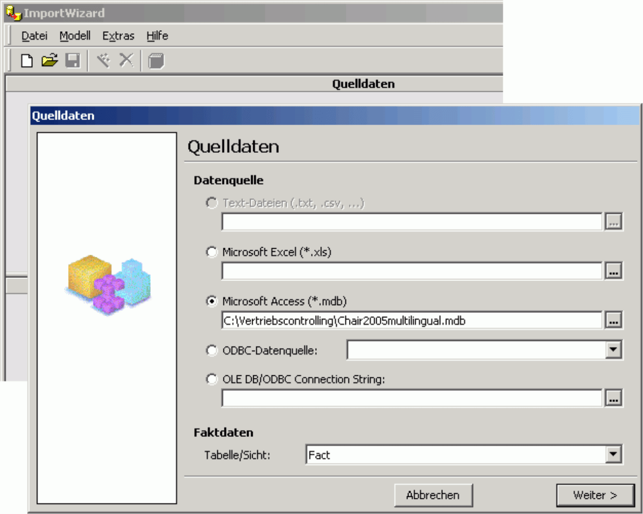 Selektion des Datenbanktyp im Fenster Quelldaten (Microsoft Excel, Microsoft Access, ODBC-Datenquelle, OLE DB/ODBC Connection String)