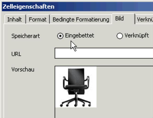 Eingabe der URL auf der Registerkarte Bild in den Zelleigenschaften