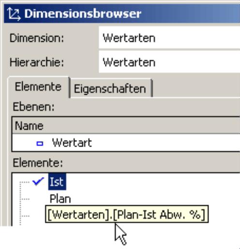 Anzeige des MDX-Namen im Dimensionsbrowser