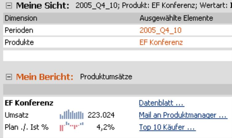 Drei Verknüpfungen: Datenblatt, Mail an Produktmanager, Top 10 Käufer in dem Bericht Produktumsätze