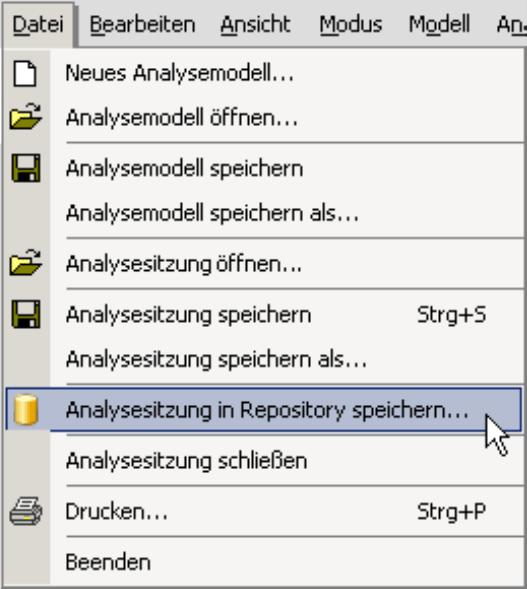 Analysesitzung in Repository speichern im Menü Datei