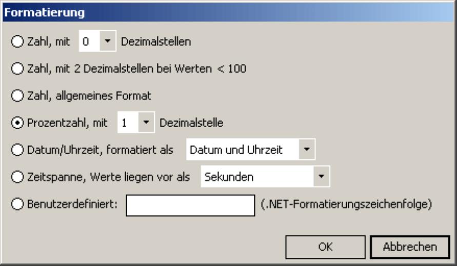 Festlegung der Anzeige der Werte auf der Registerkarte Formatierung im Editor für berechnete Elemente