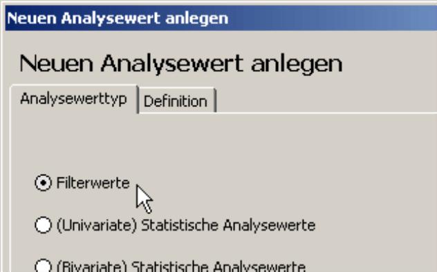 Auswahl Filterwerte auf der Registerkarte Analysewerttyp
