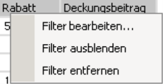 Filter bearbeiten, ausblenden oder entfernen