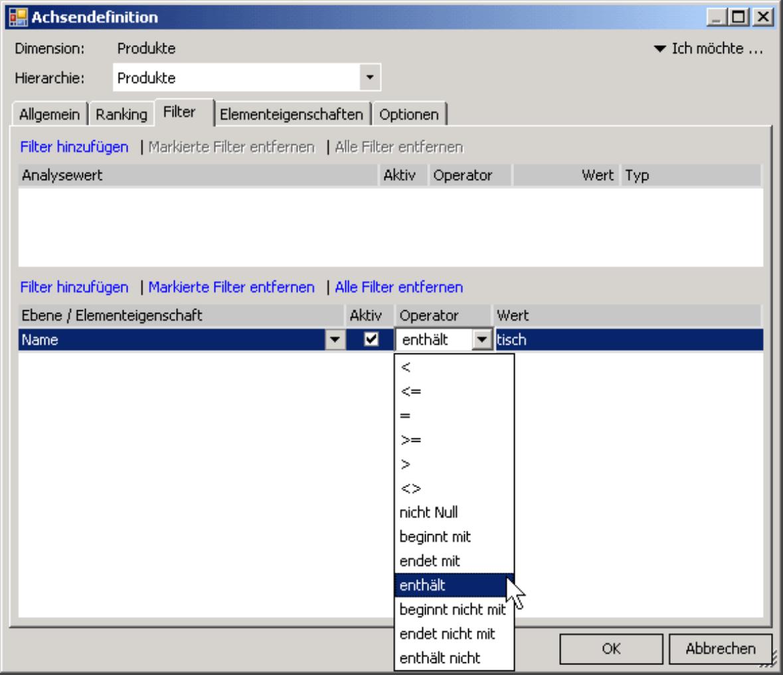 Registerkarte Filter in der Achsendefinition