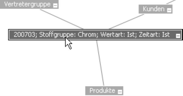 Doppelklick auf 200703; Stoffgruppe: Chrom; Wertart: Ist; Zeitart: Ist; Anzeige Vertretergruppe, Kunden und Produkte