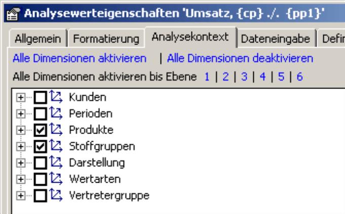 Aktivierung der Dimensionen Produkte und Stoffgruppen auf der Registerkarte Analysekontext in den Analysewerteigenschaften