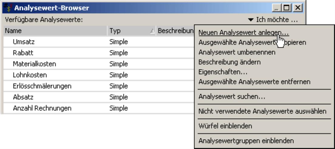 Anlegen eines neuen Analysewerts im Analysewert-Browser
