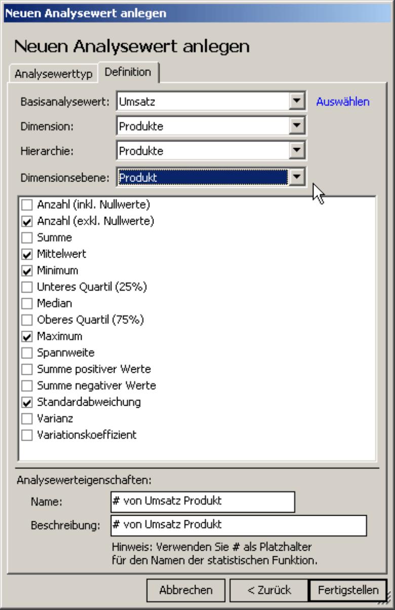 Auswahl des Basisanalysewerts, der Dimension, Hierarchie und Dimensionsebene, Kontrollkästchen für statistische Funktionen und Name und Beschreibung auf der Registerkarte Definition