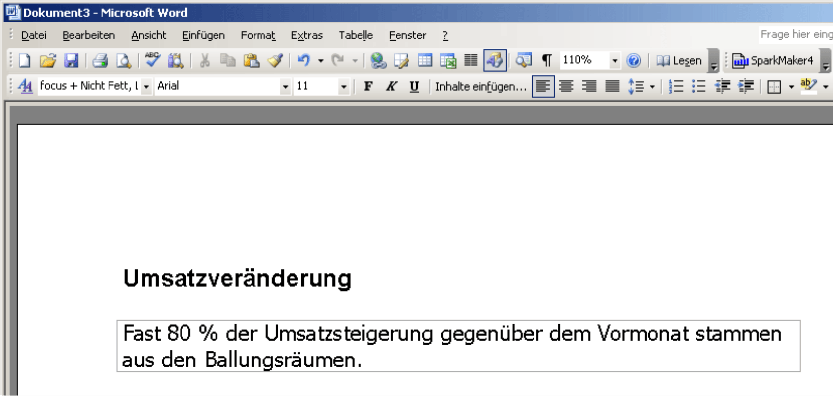 Ansicht des Action Title in Microsoft Word