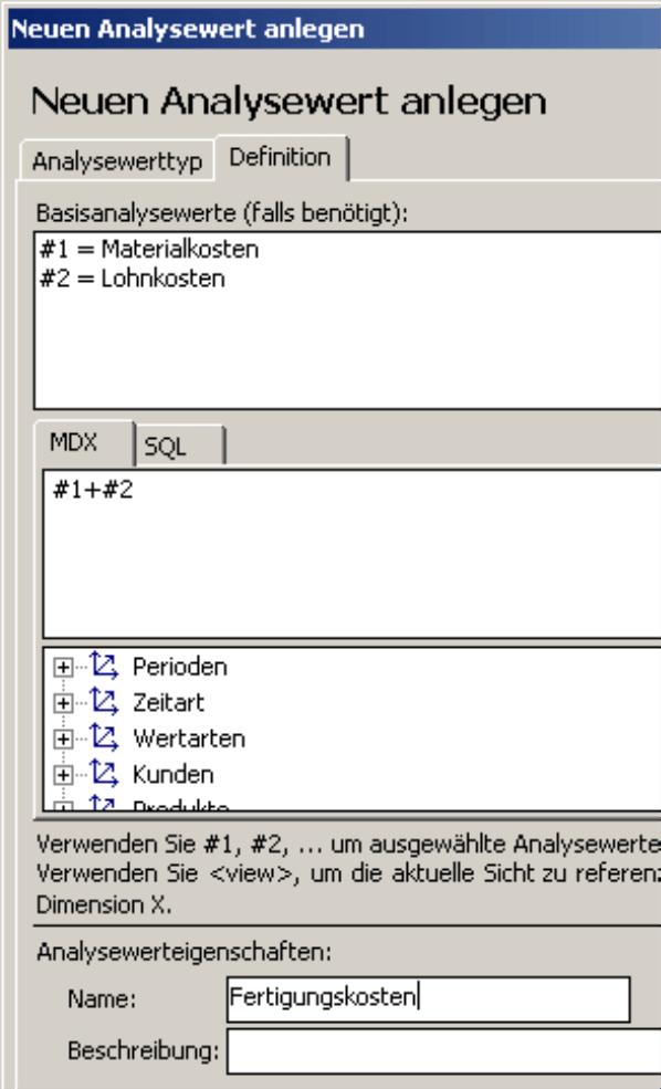 Anlegen eines neuen Analysewertes auf der Registerkarte Definition