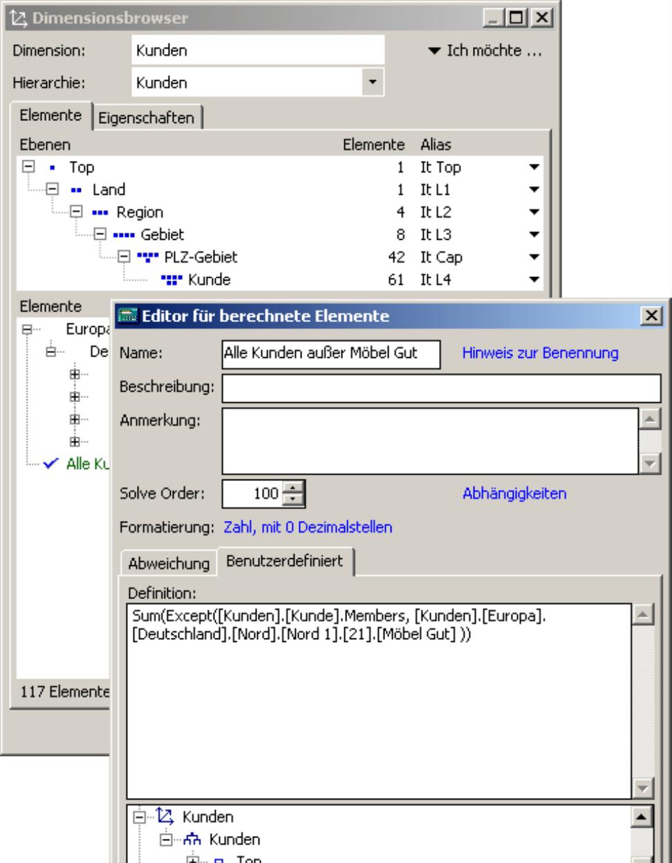 Registerkarte Benutzerdefiniert im Editor für berechnete Elemente