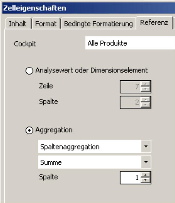 Registerkarte Referenz in den Zelleigenschaften