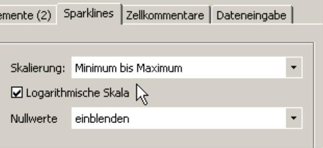Kontrollkästchen für logarithmische Skala auf der Registerkarte Sparklines