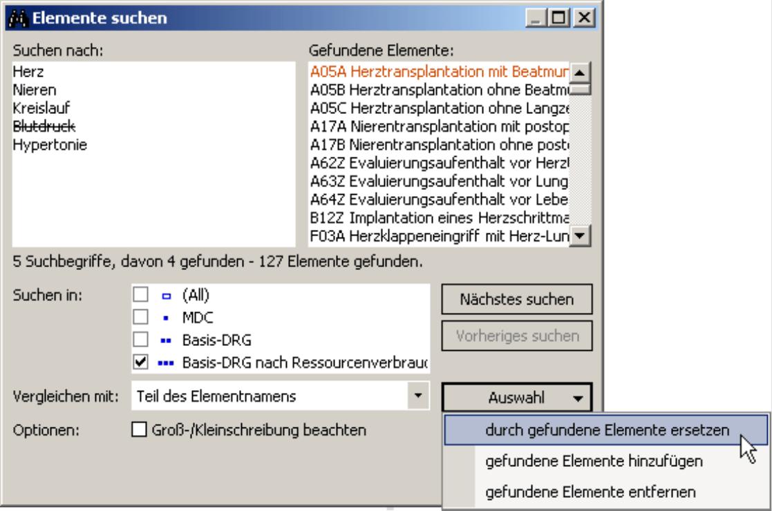 Auswahl der Elemente über die entsprechende Schaltfläche im Suchdialog