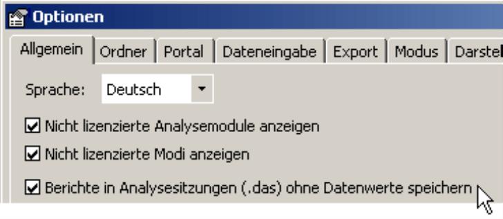 Kontrollkästchen für das Speichern der Berichte in Analysesitzungen (.das) ohne Datenwerte auf der Registerkarte Allgemein