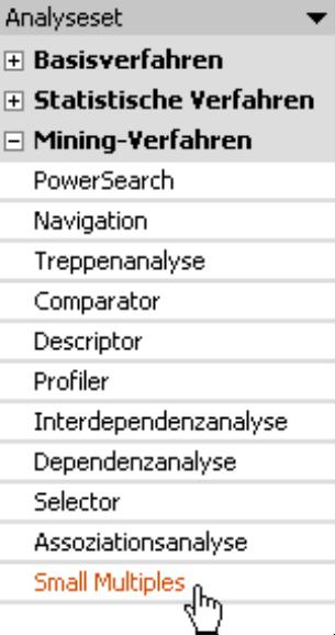 Auswahl Mining Verfahren: PowerSearch, Navigation, Treppenanalyse, Comparator, Descriptor, Profiler, Interdependenzanalyse, Dependenzanalyse, Selector, Assoziationsanalyse oder Small Multiples