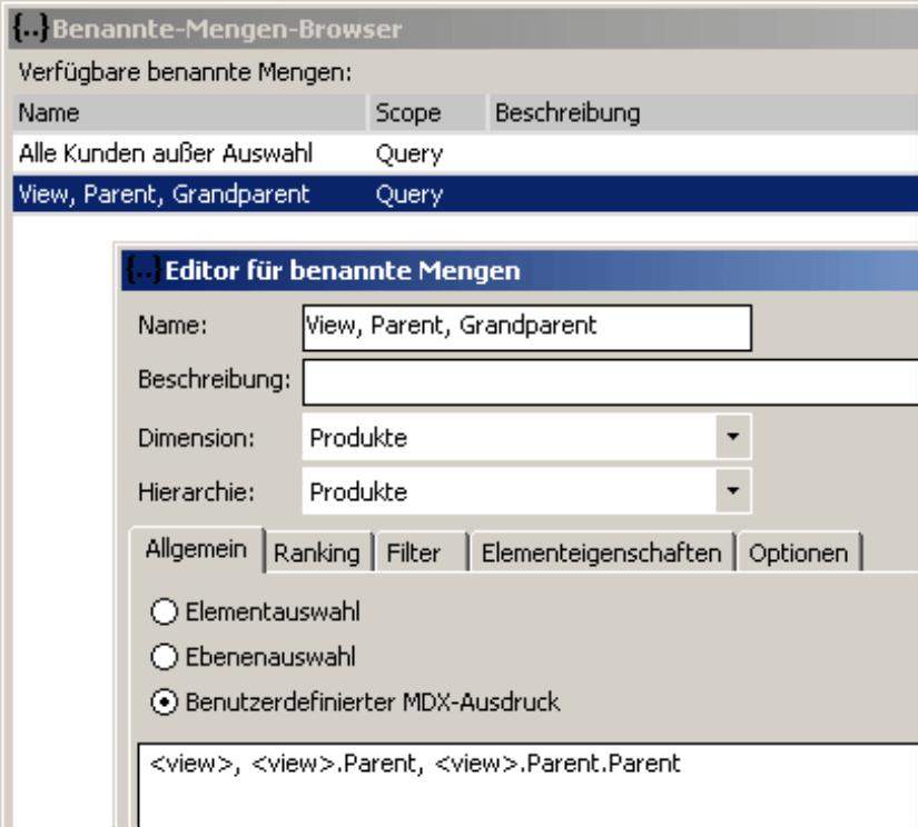 Benutzerdefinierter MDX-Ausdruck auf der Registerkarte Allgemein im Editor für benannte Mengen