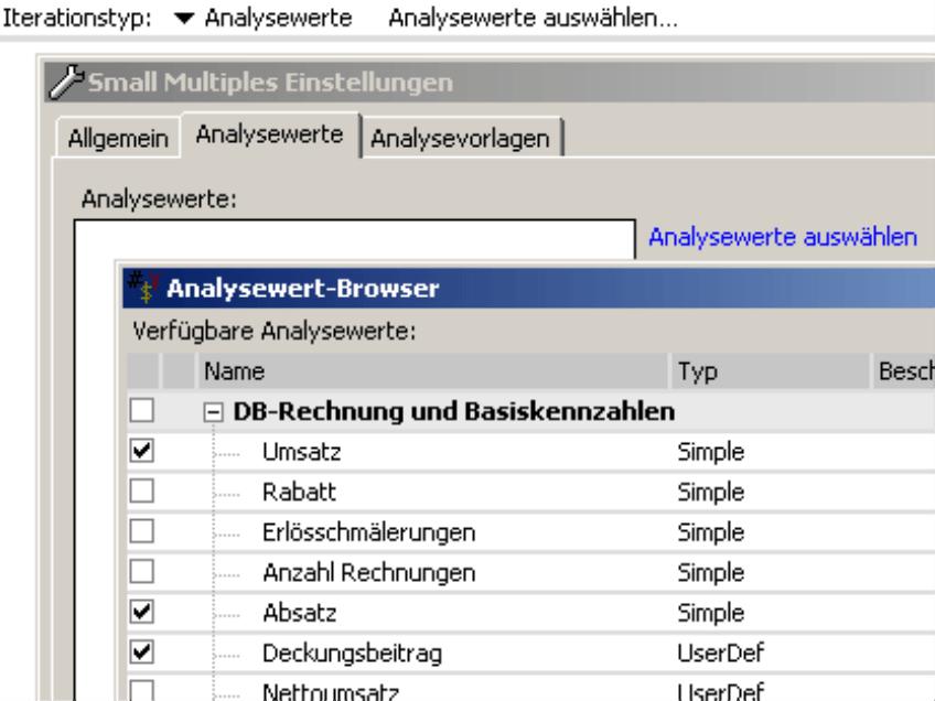 Auswahl der Analysewerte im Analysewert-Browser
