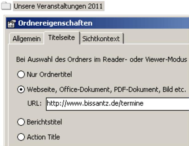 Titelseite der Ordner nur bei festgelegter URL auf der Registerkarte Titelseite in den Ordnereigenschaften