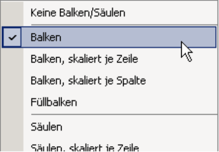 Auswahl Balken