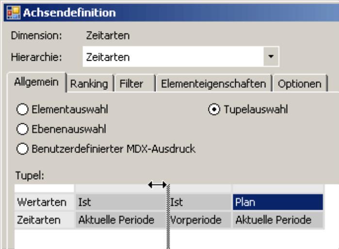 Tupelauswahl auf der Registerkarte Allgemein in der Achsendefinition
