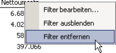 Befehl Filter entfernen