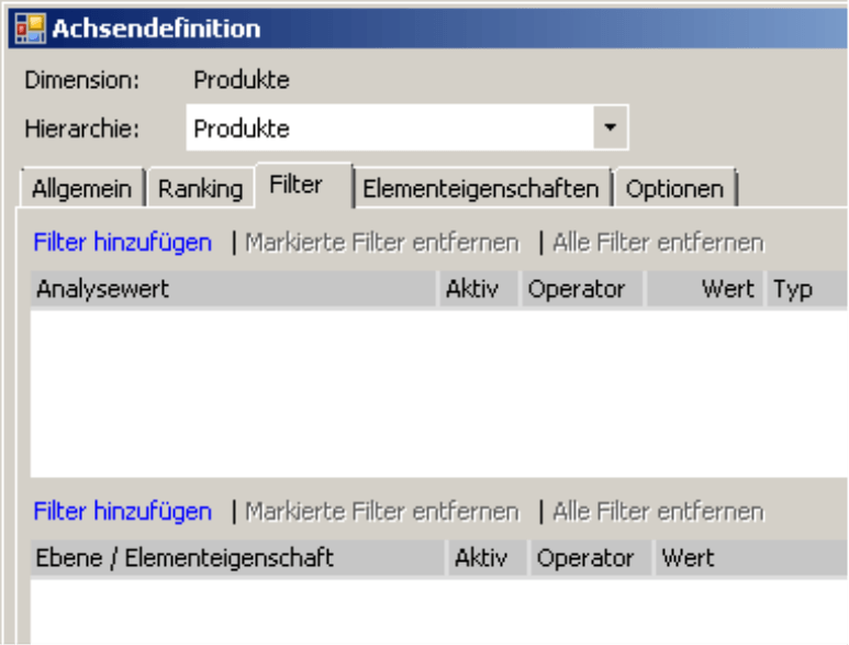 Registerkarte Filter in der Achsendefinition
