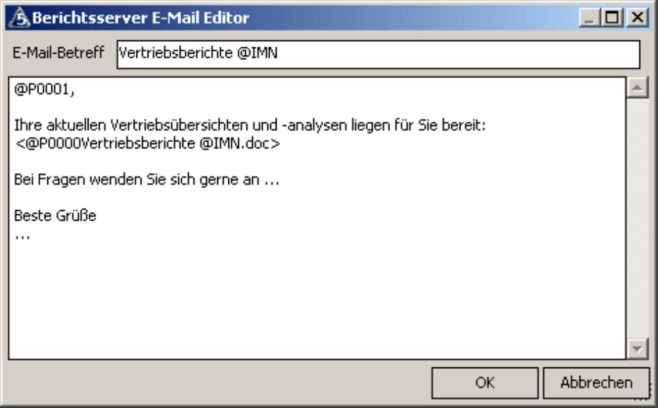 E-Mail Editor mit Übernahme eines Dokuments als Hyperlink
