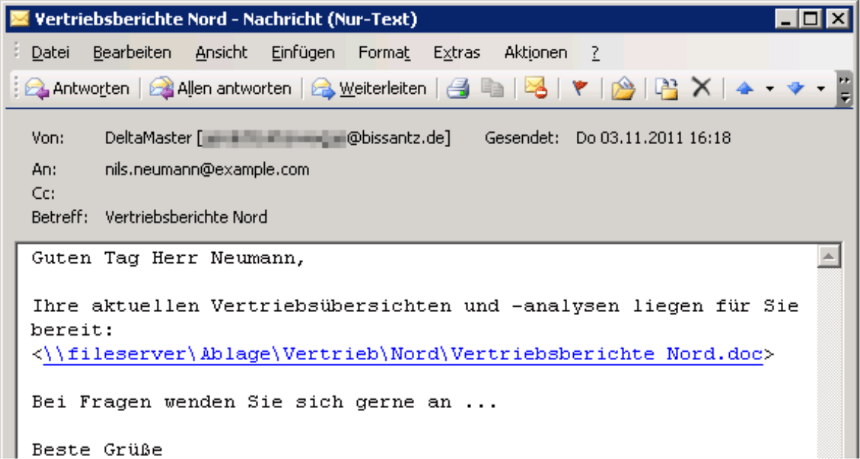 Personalisierte E-Mail mit Anlage der Vertriebsübersichten und -analysen in Form eines Hyperlinks