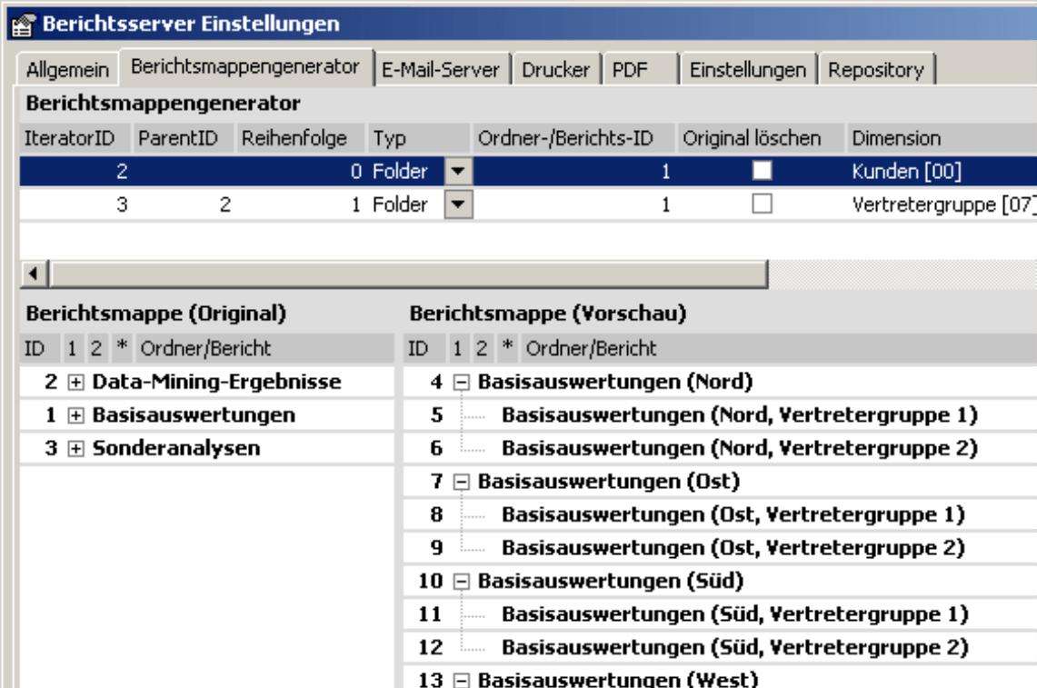 Einstellungen des Berichtsservers auf der Registerkarte Berichtsmappengenerator
