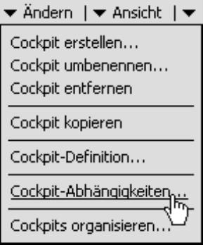 Cockpit-Abhängigkeiten im Menü Ändern des Fensters Cockpit