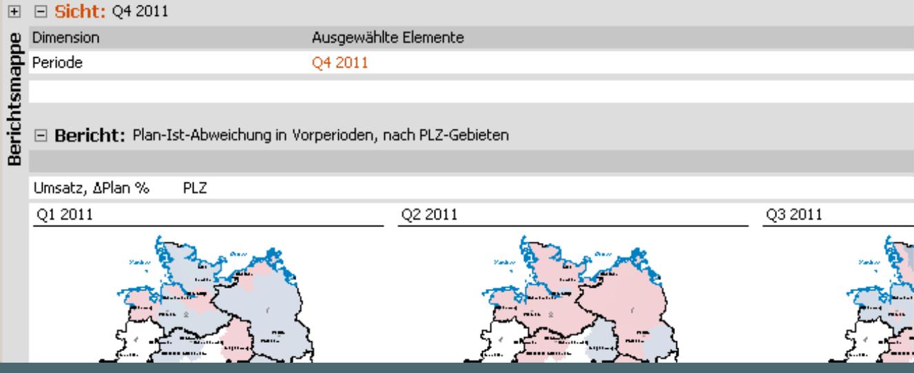 Small Multiples im Modus Viewer: Auswahl der Periode Q4 2011, Anzeige der vorausgehenden Quartale