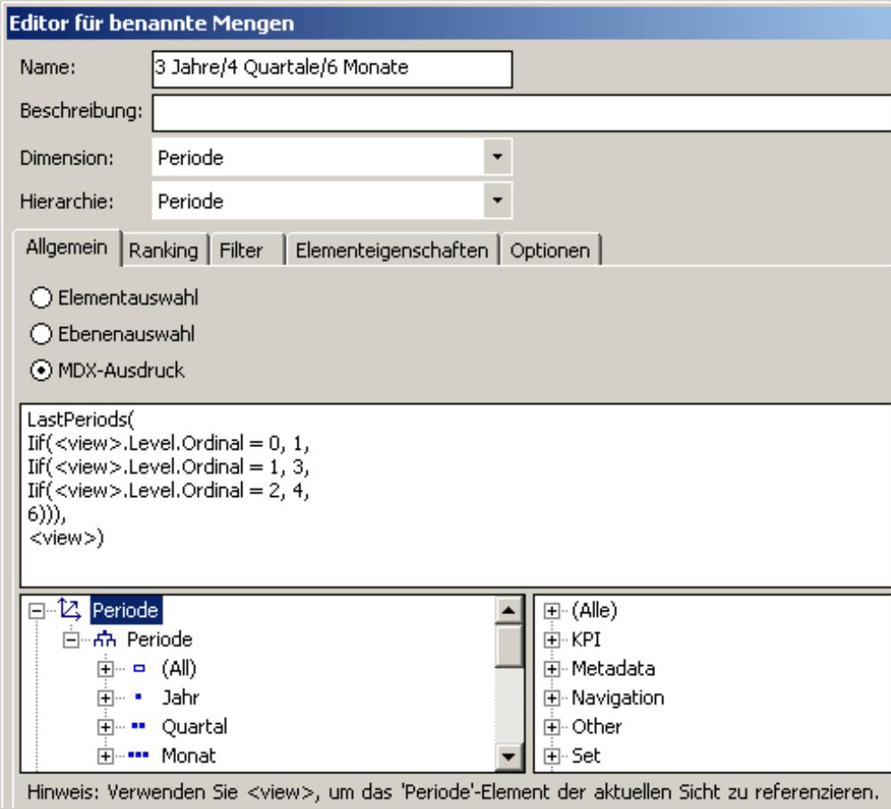 MDX-Ausdruck auf der Registerkarte Allgemein im Editor für benannte Mengen