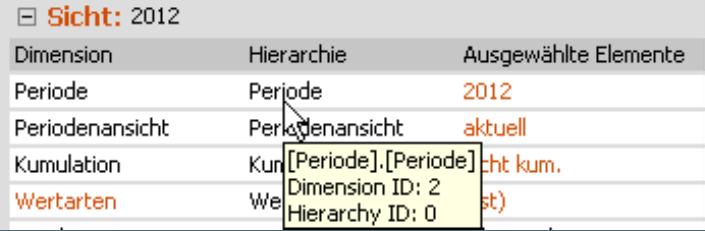 MDX-Name, Dimensions-ID und Hierarchie ID als Tooltip im Fenster Sicht