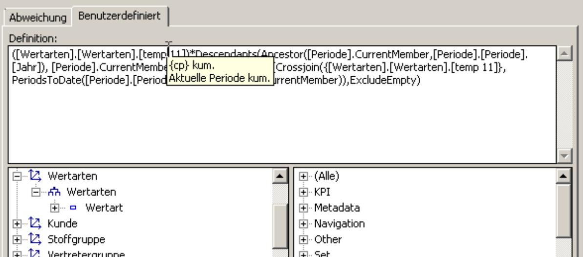 Tooltip im MDX-Editor