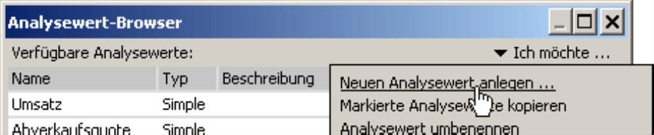 Neuen Analysewert anlegen im Analysewert-Browser