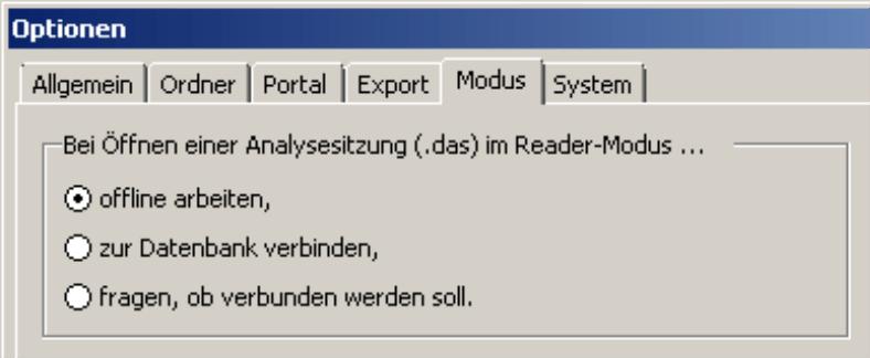 Auswahl offline arbeiten, zur Datenbank verbinden oder fragen, ob verbunden werden soll auf der Registerkarte Modus