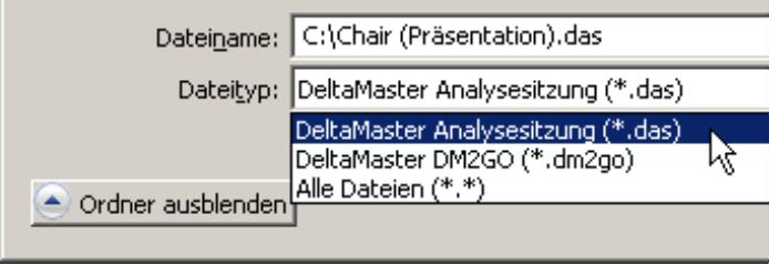 Speicherung der Analysesitzung als DAS- oder als DM2GO-Datei
