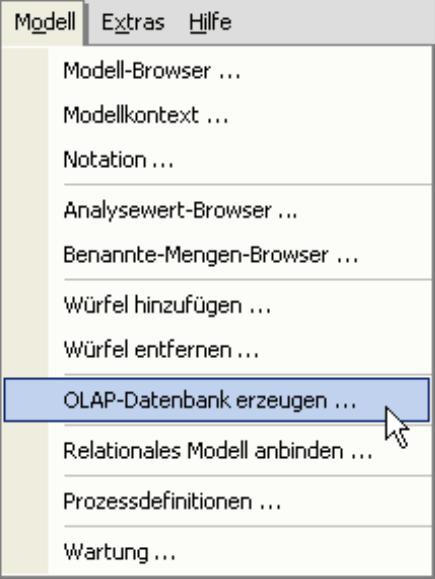 OLAP-Datenbank erzeugen im Menü Modell
