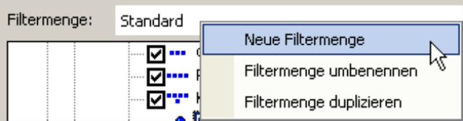 Neue Filtermenge, Filtermenge umbenennen oder Filtermenge duplizieren