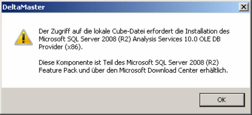 Hinweis von DeltaMaster bei Zugriff auf fehlende Komponente